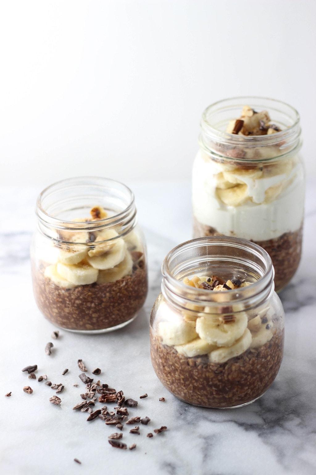 Chocolate Banana Nut Overnight Oats - Exploring Healthy Foods