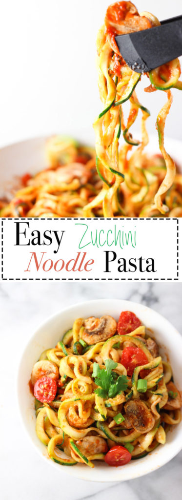 Easy and nourishing Zucchini Noodles with Tomato Pasta Sauce sprinkled with nutritional yeast for a cheesy flavour! Fully vegan and gluten-free recipe!