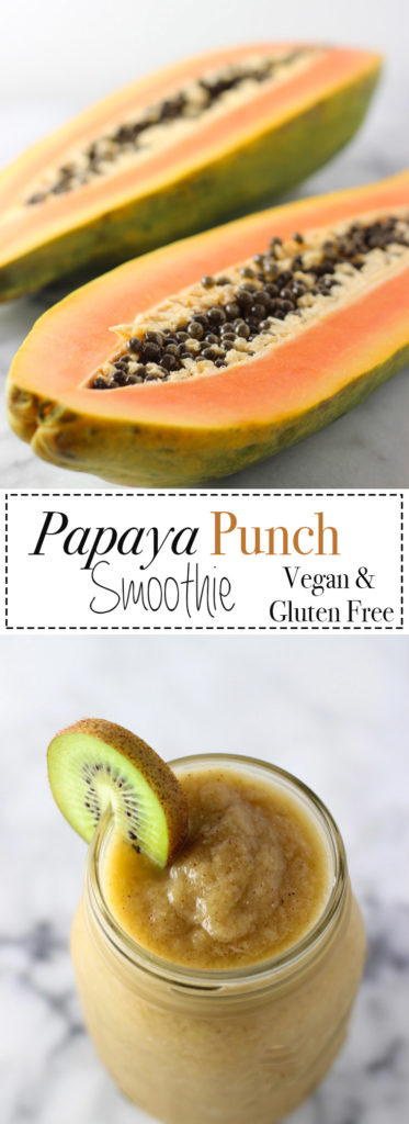 Papaya Punch Smoothie that is easy, quick and nourishing! Make for breakfast and enjoy on the go! Recipe is vegetarian, vegan, gluten-free and dairy-free.