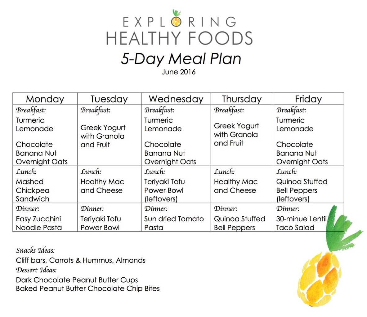 Vegetarian Meal Plan | June 2016 - Exploring Healthy Foods