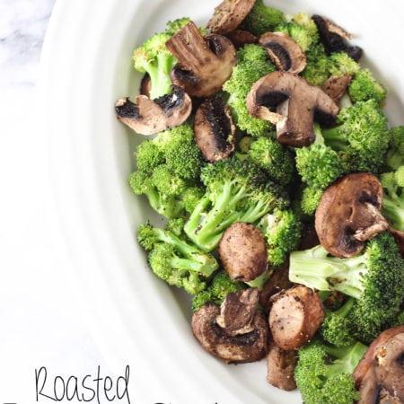 Roasted Lemon Garlic Broccoli & Mushrooms! The best side to any dish!