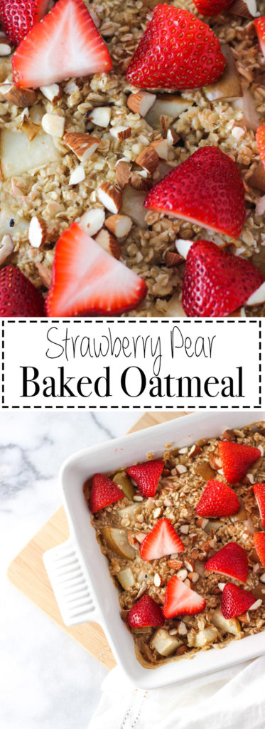 Warming Summer Strawberry Pear Baked Oatmeal makes the perfect weekend breakfast! Healthy dish the whole family will enjoy!