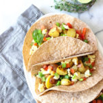 Healthy Breakfast Tacos are the best way to start off the weekend! Loaded with fibre, good carbs, vegetables and flavour! Top with mashed avocado or salsa!