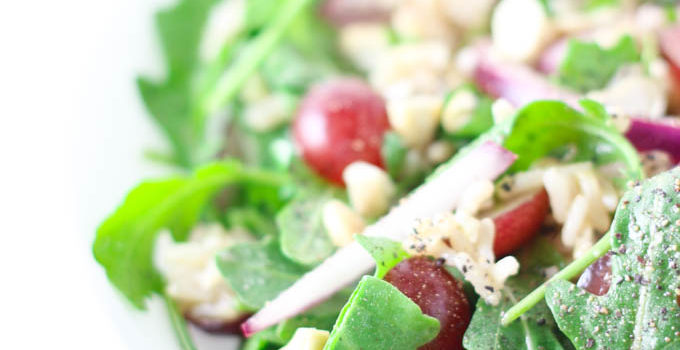 Arugula Salad with Grapes and Long Grain Rice