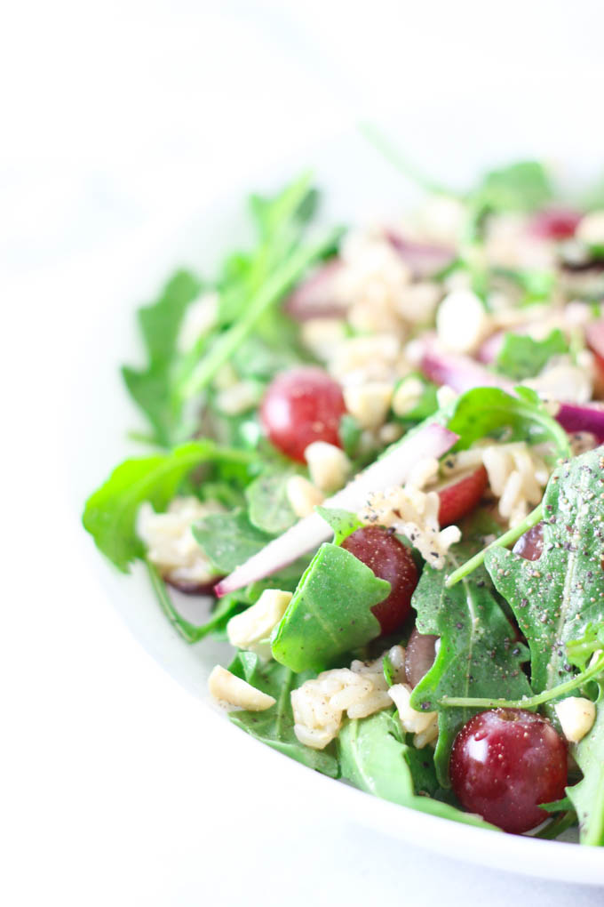Arugula Salad with Grapes and Long Grain Rice Recipe. Before for lunch or dinner! Loaded with protein, healthy fats and more. Gluten-free, dairy-free and vegan!