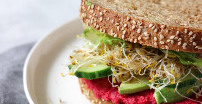 Beet Hummus Sandwich