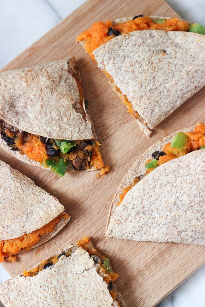 Vegan Baked Sweet Potato and Black Bean Quesadilla Recipe! Quick, delicious and loaded with nutrients!
