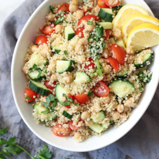 VEGAN QUINOA TABBOULEH RECIPE! Before easy dinner to make for any vegetarian or vegan guests. Makes a great leftovers for lunch as well! Exploring Healthy Foods