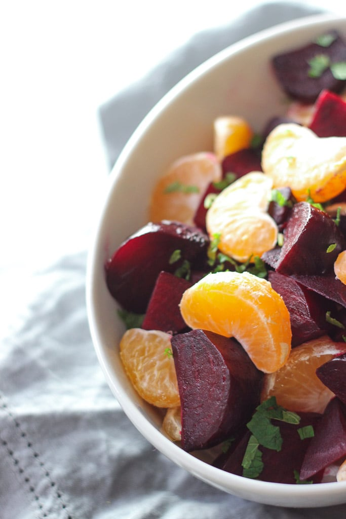 EASY HOLIDAY SIDE DISH! Roasted beets with mint and mandarin oranges! Simple recipe that pairs great with a protein and potatoes! Exploring Healthy Foods