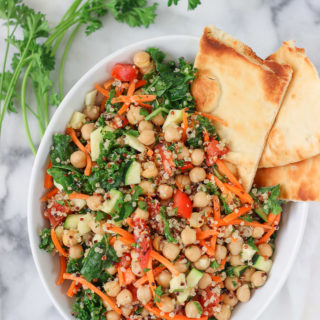 Classic Kale & Chickpea Salad with Red Wine Vinegar Dressing recipe! Easy and loaded with protein! Exploring Healthy Foods