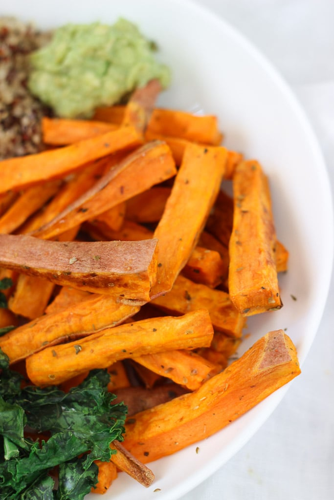 Smoked Paprika Sweet Potato Fries with Roasted Zucchini and Kale recipe! Easy and nourishing! Vegan and gluten-free recipe! Exploring Healthy Foods