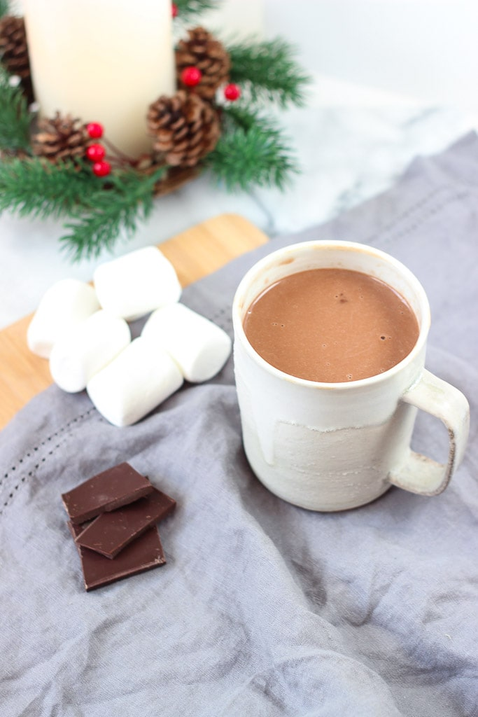 HOMEMADE SALTED HOT CHOCOLATE RECIPE! Super easy and creamy hot chocolate recipe that is dairy-free! Make and add any toppings you like! Dairy-free hot chocolate recipe. Exploring Healthy Foods