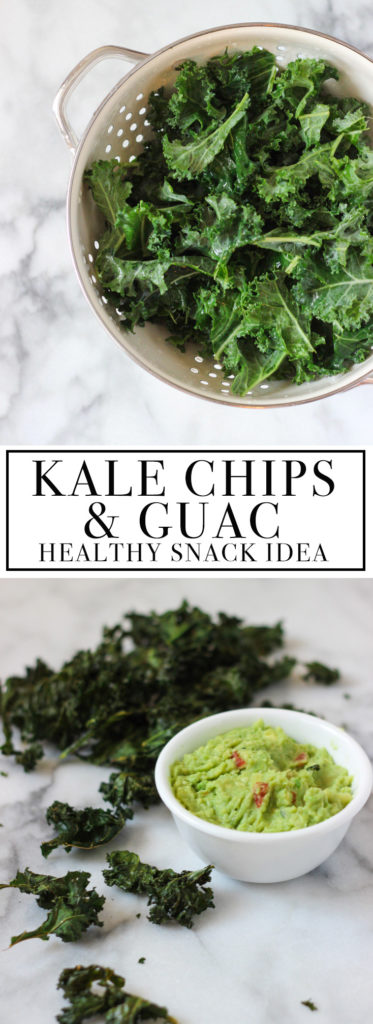 HEALTHY SNACK IDEA: Kale Chips with guacamole recipe! Easy to make, fun to eat, and a healthier choice! Exploring Healthy Foods
