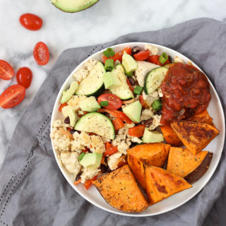 Tofu Scrambler with Sweet Potato Wedges is the perfect way to start the day! Great vegan brunch idea that is loaded with protein and other nutrients!