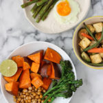 ONE TRAY OVEN DINNERS! Healthy eating really is this easy! Pick your veggies, protein, oil and spices! Post includes three recipe ideas! Exploring Healthy Foods