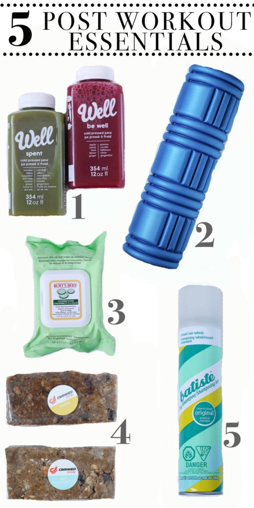 5 POST WORKOUT ESSENTIALS! Cold press juice, foam roller, local protein bars, dry shampoo and face wipes!