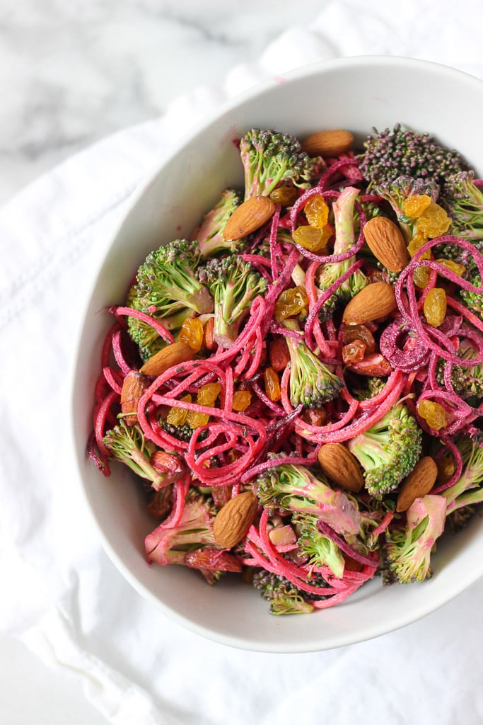 CREAMY BROCCOLI SALAD WITH SPIRALIZED VEGETABLES! Easy recipe with a variety of creamy dressing options! Check out this dairy-free, gluten-free, and vegan recipe! It makes a great healthy lunch or side dish!