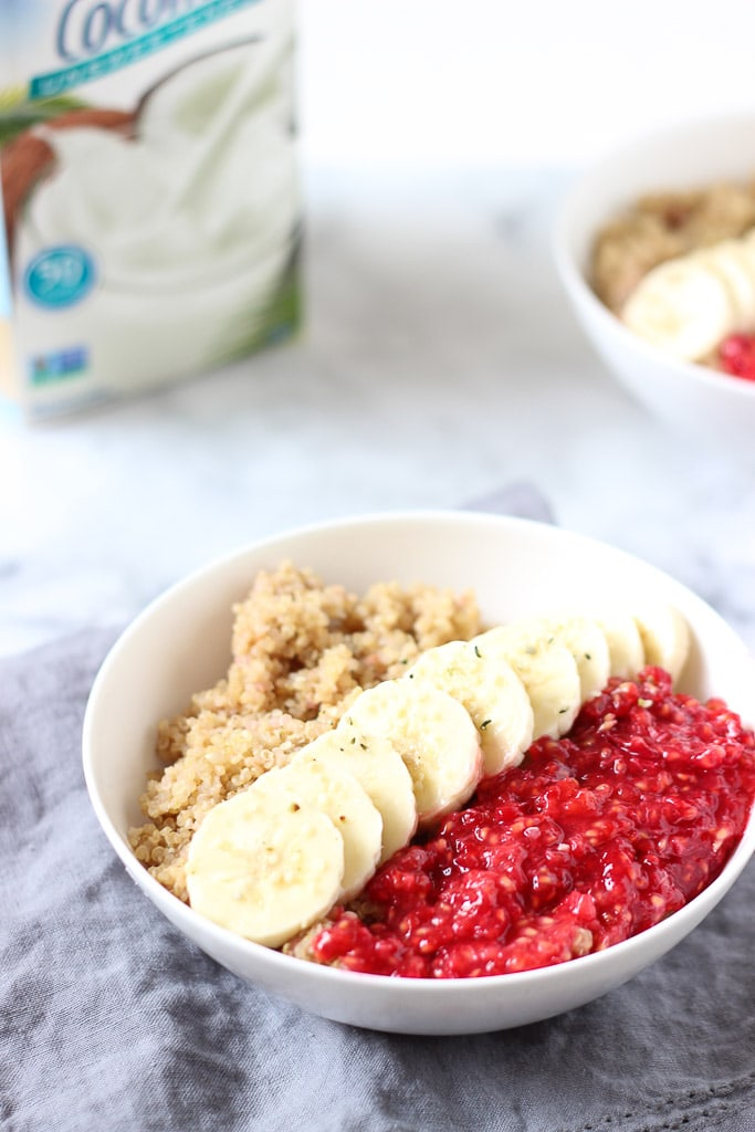 PB & J QUINOA BREAKFAST BOWL is a great healthy way to start the day! Making raspberry jam has never been SO easy! Top this on quinoa made with peanut butter and you have yourself a tasty PB & J Quinoa Breakfast Bowl! Vegan and gluten-free recipe! Exploring Healthy Foods