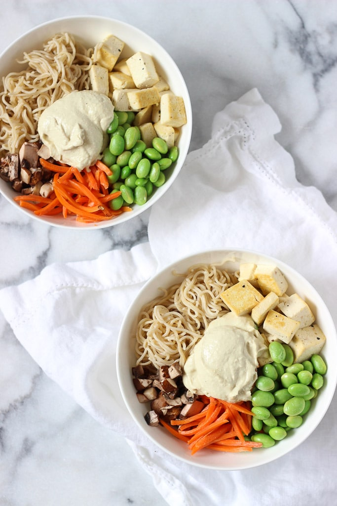 Creamy Cashew Noodle Bowl Recipe! Loaded with nutrients such as plant-based protein, healthy cashew fats, loads of veggies and fibre! Makes a great healthy dinner everyone will love!
