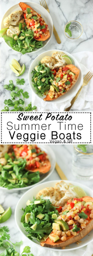 HEALTHY SWEET POTATO SUMMER TIME VEGGIE BOATS! Light yet filling dinner loaded with Summer produce! Recipe is dairy-free, gluten-free, vegetarian and vegan friendly. Makes the perfect healthy summer time dinner recipe!