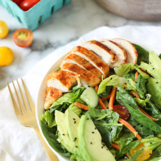 HEALTHY AND FILING: CREAMY TAHINI SALAD WITH SMOKED PAPRIKA CHICKEN! Great salad that is going to fill you up and leave you feeling satisfied! Can easily be taken to work or school as a healthy lunch!