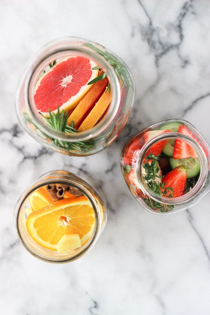 INFUSED WATER RECIPES FOR THE WINTER! Hydrations is super important, spice up your water with these fruits and vegetables for some flavour!